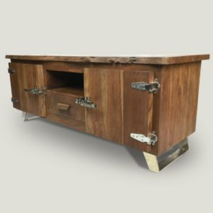 Arnold wooden console table with metal hinges