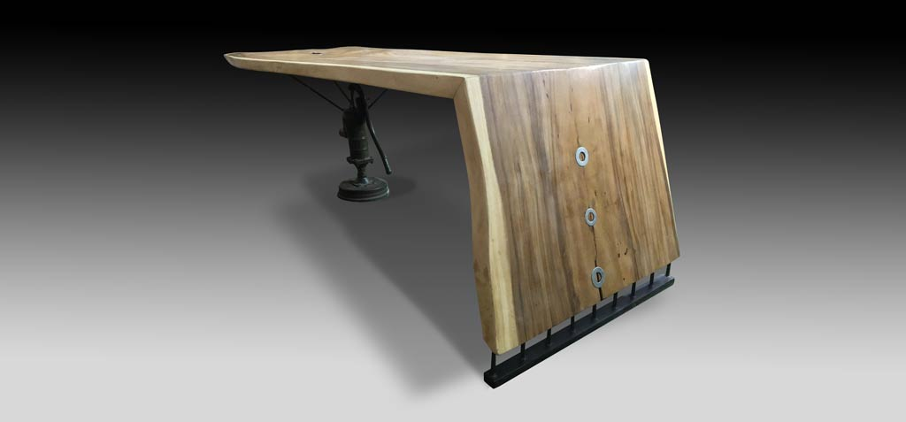 Handcrafted Furniture Singapore Suar Wood Dining Table Using One Single Slab.