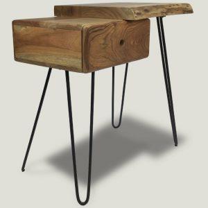 Gandan wooden side table with metal legs